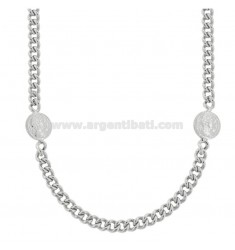 GROUMETTE NECKLACE WITH SMALL LATERAL COINS IN SILVER RHODIUM TIT 925 CM 40-45