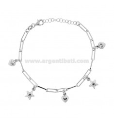 CHAIN BRACELET WITH STARS AND HEARTS IN SILVER RHODIUM TIT 925 ‰ CM FROM 17 EXTENDABLE TO 19