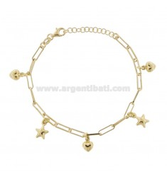 CHAIN BRACELET WITH STARS AND HEARTS PENDING IN GOLDEN SILVER TIT 925 ‰ CM FROM 17 EXTENDABLE TO 19
