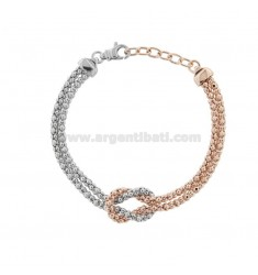 KOREAN BRACELET WITH KNOT IN SILVER RHODIUM AND ROSE TIT 925 ‰ CM FROM 17 EXTENDABLE TO 19