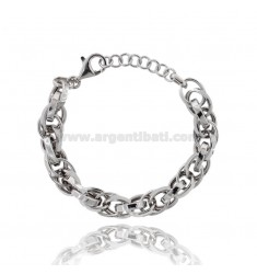 11 MM OVAL KNITTED BRACELET IN SILVER RHODIUM TIT 925 CM 19-21