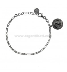 CHAIN BRACELET WITH COIN 16 MM SILVER PENDANT BRUNITO TIT 925 CM 17-20