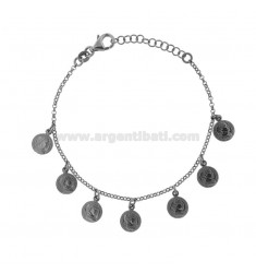 ROLO BRACELET 'WITH 7 COINS PENDING IN BRUNITO SILVER TIT 925 CM 17-20