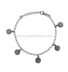 BRACELET WITH 5 COINS PENDING IN BRUNITO SILVER TIT 925 CM 17-20