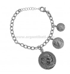 CABLE BRACELET WITH 3 COINS PENDING IN BRUNITO SILVER TIT 925 CM 17-20