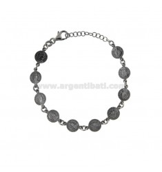 BRACELET WITH COINS 8 MM IN BRUNITO SILVER TIT 925 CM 17-20
