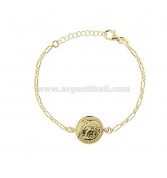 CHAIN BRACELET WITH 16 MM SILVER GOLDEN COIN TIT 925 CM 17-20