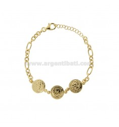 CHAIN BRACELET WITH 3 CENTRAL GOLDEN SILVER COINS TIT 925 CM 17-20