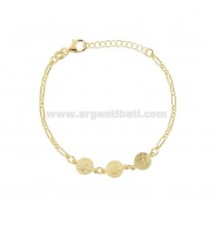 CHAIN BRACELET WITH 3 CENTRAL SMALL GOLDEN SILVER COINS TIT 925 CM 17-20
