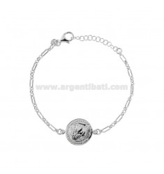 CHAIN BRACELET WITH 16 MM COIN IN SILVER RHODIUM TIT 925 CM 17-20