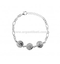 CHAIN BRACELET WITH 3 CENTRAL COINS IN SILVER RHODIUM TIT 925 CM 17-20