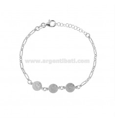 CHAIN BRACELET WITH 3 CENTRAL SMALL COINS IN SILVER RHODIUM TIT 925 CM 17-20