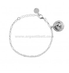 CHAIN BRACELET WITH COIN 16 MM SILVER RHODIUM PENDANT TIT 925 CM 17-20