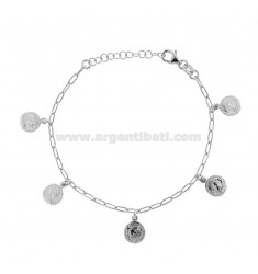 BRACELET WITH 5 PENDANTS IN SILVER RHODIUM TIT 925 CM 17-20