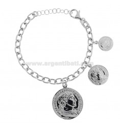 CABLE BRACELET WITH 3 PENDING COINS IN SILVER RHODIUM TIT 925 CM 17-20