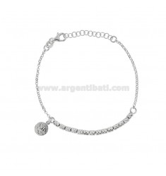 ROLO BRACELET 'WITH NUTS AND PENDING COINS IN SILVER RHODIUM TIT 925 CM 17-20