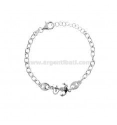 CABLE BRACELET WITH SEA SHIRTS AND STILL IN SILVER RHODIUM TIT 925 CM 17-20