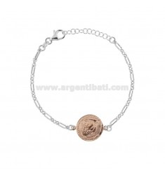 CHAIN BRACELET WITH 16 MM COIN IN ROSE AND GOLDEN SILVER TIT 925 CM 17-20