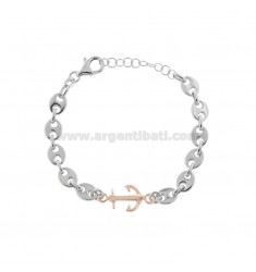 MARINE AND STILL MESH BRACELET IN SILVER RHODIUM AND ROSE TIT 925 CM 17-20