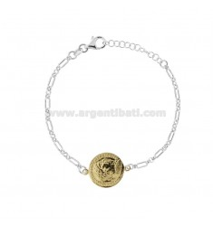 CHAIN BRACELET WITH COIN 16 MM SILVER RHODIUM AND GOLDEN TIT 925 CM 17-20
