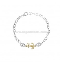 CABLE BRACELET WITH SEA SHIRTS AND STILL IN RHODIUM-PLATED AND GOLDEN SILVER TIT 925 CM 17-20