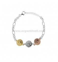 CHAIN BRACELET WITH 3 CENTRAL SILVER TRICOLOR COINS TIT 925 CM 17-20