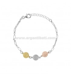 CHAIN BRACELET WITH 3 CENTRAL SMALL COINS IN SILVER TRICOLOR TIT 925 CM 17-20