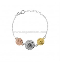 ROLO BRACELET WITH 3 CENTRAL SILVER TRICOLOR COINS TIT 925 CM 17-20