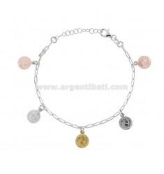 BRACELET WITH 5 COINS PENDING IN SILVER TRICOLOR TIT 925 CM 17-20