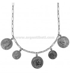 CHAIN NECKLACE WITH 5 COINS IN BRUNITO SILVER TIT 925 CM 40-45