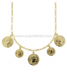 CHAIN NECKLACE WITH 5 GOLDEN SILVER COINS TIT 925 CM 40-45