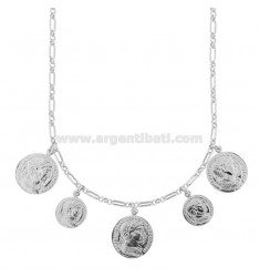 CHAIN NECKLACE WITH 5 COINS IN SILVER RHODIUM TIT 925 CM 40-45