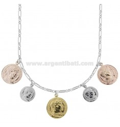 CHAIN NECKLACE WITH 5 SILVER TRICOLOR COINS TIT 925 CM 40-45