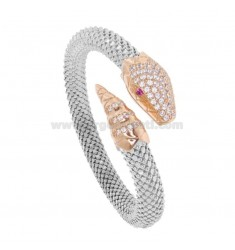 SNAKE SNAKE BRACELET 8 MM SILVER RHODIUM AND ROSE TIT 925 WITH ZIRCONIA