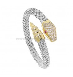 SNAKE SNAKE BRACELET 8 MM SILVER RHODIUM AND GOLDEN TIT 925 WITH ZIRCONIA