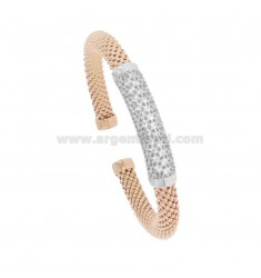 RIGID KNIT BRACELET FOPE IN ROSE SILVER AND RHODIUM TIT 925 WITH ZIRCONIA