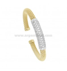 RIGID KNIT BRACELET FOPE SILVER GOLDEN AND RHODIUM TIT 925 WITH ZIRCONIA