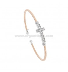 RIGID BRACELET WITH DIAMOND WIRE IN ROSE SILVER AND RHODIUM TIT 925 WITH ZIRCONATED CROSS