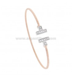 RIGID BRACELET WITH DIAMOND WIRE IN ROSE SILVER AND RHODIUM TIT 925 AND ZIRCONIA