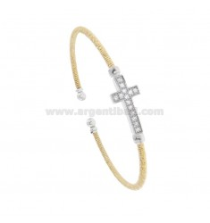 RIGID BRACELET WITH DIAMOND WIRE IN GOLD AND SILVER RHODIUM TIT 925 WITH ZIRCONATED CROSS