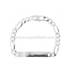 3 1 MESH BRACELET WITH PLATE MM 7X2 IN SILVER 925 ‰ WITH FRENCH CLOSURE CM 20