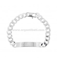 GRUMETTA KNIT BRACELET WITH PLATE 40X9 MM IN SILVER 925 ‰ 21 CM WITH FRENCH CLOSURE