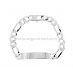3 1 MESH BRACELET WITH PLATE 40X9 MM IN SILVER 925 ‰ 21 CM WITH FRENCH CLOSURE
