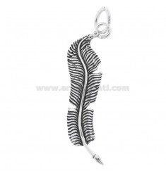 PENDANT FEATHER CALAMIER MM 4,5X1,2 IN BRUNITO SILVER TIT 800