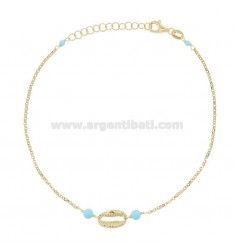 ANKLE ROLO 'WITH SHELL AND TURQUOISE IN GOLDEN SILVER TIT 925 ‰ CM 22 EXTENDABLE TO 25