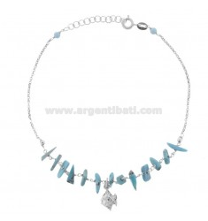 ANKLE ROLO 'WITH FISH AND TURQUOISE SILVER RHODIUM TIT 925 ‰ CM 22 EXTENDABLE TO 25