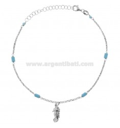 ANKLE ROLO 'WITH HIPPOCAMPO AND TURQUOISE IN SILVER RHODIUM TIT 925 ‰ 22 CM EXTENDABLE TO 25
