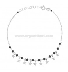 ANKLE ROLO 'WITH BLACK AGATE AND STARS IN SILVER RHODIUM TIT 925 ‰ CM 22 EXTENDABLE TO 25