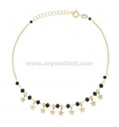 ANKLE ROLO 'WITH BLACK AGATE AND STARS IN GOLDEN SILVER TIT 925 ‰ CM 22 EXTENDABLE TO 25