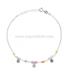 ANKLE ROLO 'WITH CRYSTALS AND ROUND PENDANTS IN SILVER RHODIUM TIT 925 ‰ CM 22 EXTENDABLE TO 25